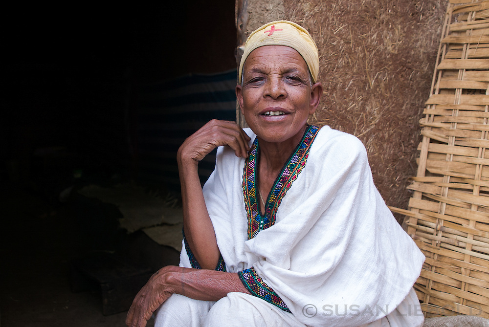 A blind woman in a small town in Ethiopia.