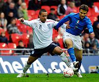 Photo: Alan Crowhurst.<br />England U21 v Italy U21. International Friendly. 24/03/2007. England's Wayne Routledge (L) challenges.
