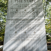 """One of the four large tablets inscribed with Teddy Roosevelt's words at the Theodore Roosevelt Memorial in Arlington, Virginia, just across the river from the National Mall. This particular column is devoted to """"The State""""."""