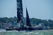 SailGP Team USA practice off Cowes. Event 4 Season 1 SailGP event in Cowes, Isle of Wight, England, United Kingdom. 5 August 2019: Photo Chris Cameron for SailGP. Handout image supplied by SailGP