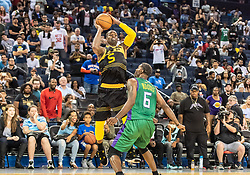July 6, 2018 - Oakland, CA, U.S. - OAKLAND, CA - JULY 06: Stephen Jackson (5) co-captain of the Killer 3s passes the ball over Qyntel Woods (6) of 3 Headed Monsters during game 4 in week three of the BIG3 3-on-3 basketball league on Friday, July 6, 2018 at the Oracle Arena in Oakland, CA  (Photo by Douglas Stringer/Icon Sportswire) (Credit Image: © Douglas Stringer/Icon SMI via ZUMA Press)