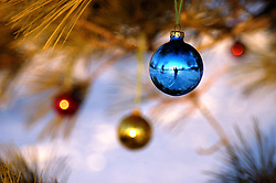 Christmas decorations hang from a pine tree outdoors.  The photographer is reflected in the blue decoration and is waving at the viewer.
