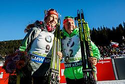 Franziska Preuss (GER) and Laura Dahlmeier (GER) after the Women 10 km Pursuit at day 3 of IBU Biathlon World Cup 2015/16 Pokljuka, on December 19, 2015 in Rudno polje, Pokljuka, Slovenia. Photo by Vid Ponikvar / Sportida