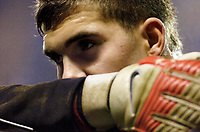 Photo: Leigh Quinnell.<br /> Reading v Southampton. Coca Cola Championship. 10/02/2006. Southamptons Bartosz Bialkowski looks from behind his gloves.