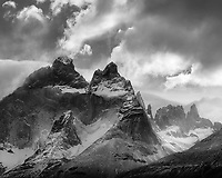 Dramatic black and white image of clearing storm over Los Cuernos in Torres del Paine National Park, Chile
