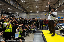 Invited builder Dynamite Joe Kerivan on stage after riding his 1957 Harley-Davidson Panhead in the grand entry into the 27th Annual Mooneyes Yokohama Hot Rod Custom Show 2018. Yokohama, Japan. Sunday, December 2, 2018. Photography ©2018 Michael Lichter.