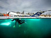 Submerged Aircraft Challenger 600 at Dutch Springs,  Scuba Diving Resort in Pennsylvania