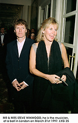 MR & MRS STEVE WINWOOD, he is the musician, at a ball in London on March 21st 1997.LXG 25