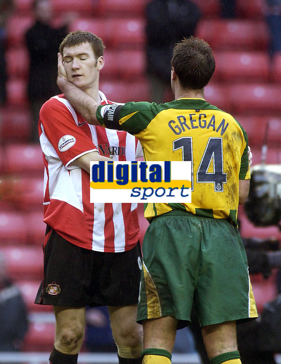 Photo. Glyn Thomas.<br /> Sunderland v West Bromwich Albion. <br /> Nationwide Division 1. 18/04/2004.<br /> Sunderland's Kevin Kyle (L) is consoled by West Brom's Sean Gregan.