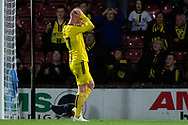 Burton Albion forward Liam Boyce as his shot at goal is saved and knocked away by Scunthorpe United goalkeeper Jak Alnwick during the The FA Cup 1st round match between Scunthorpe United and Burton Albion at Glanford Park, Scunthorpe, England on 10 November 2018.