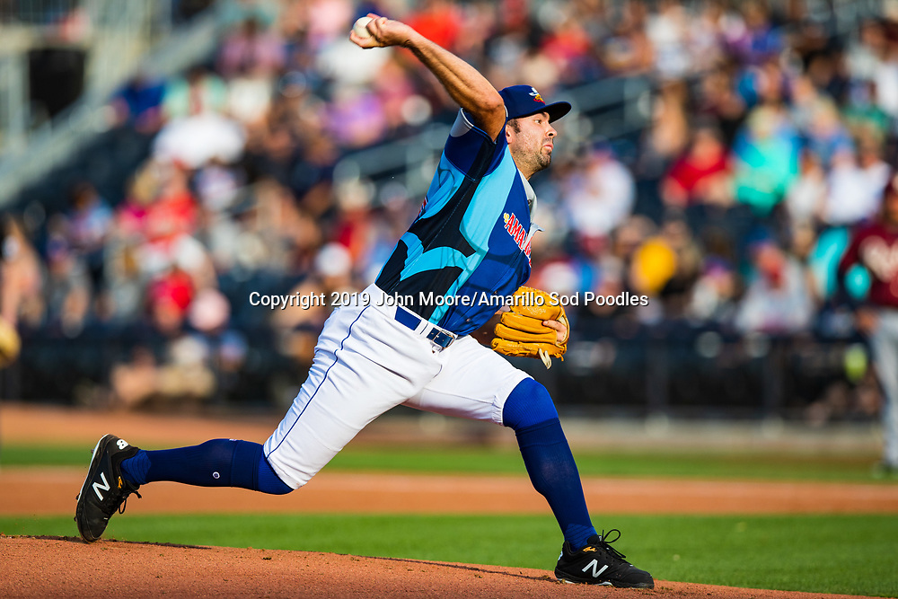 Amarillo Sod Poodles pitcher Jesse Scholtens (38) pitches against the Frisco RoughRiders on Saturday, Aug. 3, 2019, at HODGETOWN in Amarillo, Texas. [Photo by John Moore/Amarillo Sod Poodles]