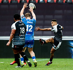 Keelan Giles of Ospreys kicks the ball ahead<br /> <br /> Photographer Simon King/Replay Images<br /> <br /> Guinness PRO14 Round 18 - Ospreys v Dragons - Saturday 23rd March 2019 - Liberty Stadium - Swansea<br /> <br /> World Copyright © Replay Images . All rights reserved. info@replayimages.co.uk - http://replayimages.co.uk