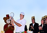 19 OCT 14 Ben Martin celebrates on the 18th green with the trophy at the conclusion of Sunday's Final Round of The Shriners Hospitals for Children Open at The TPC of Summerlin,(photo credit : kenneth e. dennis/kendennisphoto.com)