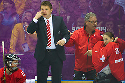 20.02.2014, Bolshoy Ice Dome, Adler, RUS, Sochi, 2014, Eishockey Damen, Spiel um die Bronzemedaille, im Bild Assistenztrainer Daniel Meier (SUI) // during Womens Icehockey Match for Bronze Medal of the Olympic Winter Games Sochi 2014 at the Bolshoy Ice Dome in Adler, Russia on 2014/02/20. EXPA Pictures © 2014, PhotoCredit: EXPA/ Freshfocus/ Urs Lindt<br /> <br /> *****ATTENTION - for AUT, SLO, CRO, SRB, BIH, MAZ only*****