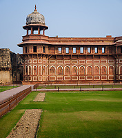 AGRA, INDIA - CIRCA NOVEMBER 2018: View of the Agra Fort. This is a historical fort in the city of Agra in India. It was the main residence of the emperors of the Mughal Dynasty until 1638, when the capital was shifted from Agra to Delhi. Agra is a city and very popular tourist destination on the banks of the Yamuna river in the Indian state of Uttar Pradesh.
