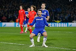 Eden Hazard of Chelsea celebrates scoring a goal from the penalty spot to make it 2-1 - Photo mandatory by-line: Rogan Thomson/JMP - 07966 386802 - 11/03/2015 - SPORT - FOOTBALL - London, England - Stamford Bridge - Chelsea v Paris Saint-Germain - UEFA Champions League Round of 16 Second Leg.