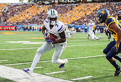 Sep 22, 2018; Morgantown, WV, USA; Kansas State Wildcats wide receiver Isaiah Zuber (7) catches a pass during the third quarter against the West Virginia Mountaineers at Mountaineer Field at Milan Puskar Stadium. Mandatory Credit: Ben Queen-USA TODAY Sports