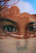 Look for the unexpected!!!!!<br /> <br /> Reflection through shop window.<br /> <br /> Church of Panaghia Kapnikarea.