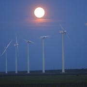Zonsondergang Gooimeer Almere, windenergie, windmolens, avond