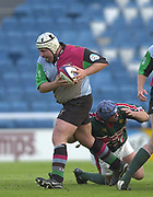 Twickenham, Surrey, England,  UK., 14/05/2003, LAURENT GOMEZ ,BREAKS THROUGH, PERRY FRESHWATERS, TACKLE AND CHALLENGE, during, the Zurich Premiership Rugby match, NEC Harlequins vs Leicester Tigers, played at the Stoop Memorial Ground, [Mandatory Credit: Peter Spurrier/Intersport Images]