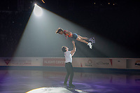 KELOWNA, BC - OCTOBER 24:  Figure skating pairs competitors Liubov Ilyushechkina and Charlie Bilodeau of Canada perform during the gala of Skate Canada International at Prospera Place on October 24, 2019 in Kelowna, Canada. (Photo by Marissa Baecker/Shoot the Breeze)