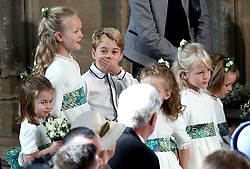 File photo dated 12/10/18 of the bridesmaids and paige boys at the wedding of Princess Eugenie. George, the eldest son of the Duke and Duchess of Cambridge, will celebrate his sixth birthday on Monday.