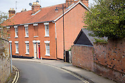 Red brick terraced houses street Woodbridge Suffolk