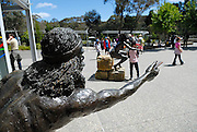 Statues depicting the story of the formation of the Three Sisters rock formation. Katoomba, Blue Mountains, Australia