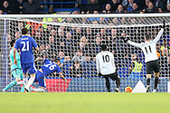 John Terry, the Chelsea captain (l) scores an own goal to put Everton up 0-1. Barclays Premier league match, Chelsea v Everton at Stamford Bridge in London on Saturday 16th January 2016.<br /> pic by John Patrick Fletcher, Andrew Orchard sports photography.