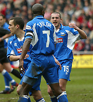 Photo. Andrew Unwin.<br /> Sunderland v Derby County, Nationwide League Division One, Stadium of Light, Sunderland 27/03/2004.<br /> Derby's Ian Taylor (c) celebrates scoring his team's first goal with his team-mate, Adam Bolder (r).