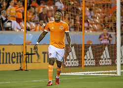 August 4, 2018 - Houston, TX, U.S. - HOUSTON, TX - AUGUST 04:  Houston Dynamo forward Romell Quioto (31) reacts after missing an opportunity to convert a corner kick during the soccer match between Sporting Kansas City and Houston Dynamo on August 4, 2018 at BBVA Compass Stadium in Houston, Texas.  (Photo by Leslie Plaza Johnson/Icon Sportswire) (Credit Image: © Leslie Plaza Johnson/Icon SMI via ZUMA Press)