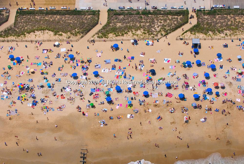 Aerial views of the Beach goers at Rehobeth Beach Delaware
