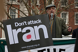 © licensed to London News Pictures. London, UK 28/01/12. Roger Lloyd-Pack speaks as Stop War Coalition protests against Western intervention in the Middle East, outside US Embassy in London. Photo credit: Tolga Akmen/LNP