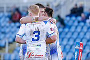 Workington Town  celebrate Workington Town winger Sam Forrester (2) try during the Ladbrokes Challenge Cup round 3 match between Hunslet Club Parkside and Workington Town at South Leeds Stadium, Leeds, United Kingdom on 24 February 2018. Picture by Simon Davies.
