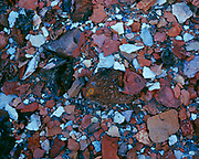 Red and white shale in the Bisti Badlands, Bisti/De-Na-Zin Wilderness, San Juan Basin, New Mexico.