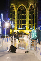 Coventry UK City of Culture opens their festive ice-skating experience Coventry Glides. It is located beside and around the city's iconic cathedral ruins, creating an atmospheric festive experience for visitors to enjoy during the winter period. Friday 4 December 2020 photo by Brian Jordan<br /> <br /> Coventry Glides will go ahead under Tier 3 Covid-19 restrictions, in line with national regulations.<br /> <br /> It means that, up until the possible revision of the Tier system on 16 December, the event will now only admit audiences from Coventry, Warwickshire, and Solihull. People from outside of these areas who have already booked tickets for dates before 16 December will be contacted for a full refund.