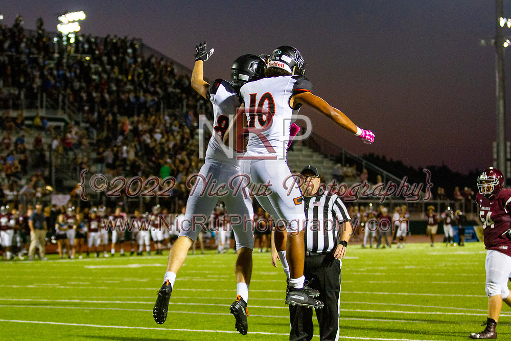 Norman's Gabe Ferguson and Andrew Young celebrated Ferguson's touchdown during the game in Edmond on Friday, October 05, 2018.