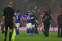 Football - 2019 / 2020 Premier League - Southampton vs. Leicester City<br /> <br /> James Maddison of Leicester City gives hat trick hero Ayoze Perez of Leicester City a hug, who grabs the match ball at St Mary's Stadium Southampton<br /> <br /> COLORSPORT/SHAUN BOGGUST
