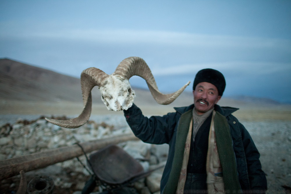 Ooroon Boi, son of the late Khan, shows a skull of the endangered Marco Polo sheep..In and around the campment of Kyzyl Qorum, campment of the former deceased Khan, Abdul Rashid Khan..Trekking with yak caravan through the Little Pamir where the Afghan Kyrgyz community live all year, on the borders of China, Tajikistan and Pakistan.
