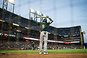 Oakland Athletics second baseman Jed Lowrie (8) warms up before batting against the San Francisco Giants at AT&T Park in San Francisco, California, on March 30, 2017. (Stan Olszewski/Special to S.F. Examiner)