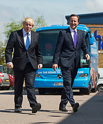 **FILE PICTURE- David Cameron and Boris Johnson will will campaign against each other ahead of an EU Referendum on June 23rd, 2016**© London News Pictures. 22/04/2015.British prime minister DAVID CAMERON and Mayor of London BORIS JOHNSON arriving at Advantage Children's Day Nursery in Surbition, south London to campaign ahead of the general election on May 7th, 2015. Surbition is where TV series The Good Life was based. David Cameron made reference to The Good life in his election manifesto launch speech. Photo credit: Ben Cawthra/LNP
