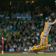Australian batsman David Hussey in action during the Twenty20 International between Australia and New Zealand  at the Sydney Cricket Ground on the 15th February 2009. Australia won the thrilling match by one run. Photo Tim Clayton
