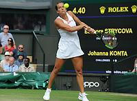 Tennis - 2019 Wimbledon Championships - Week Two, Tuesday (Day Eight)<br /> <br /> Women's Singles, Quarter-Final: Barbora Strycoya ((CZE) v Johanna Konta (GBR)<br /> <br /> Barbora Strycoya, on Centre Court.<br /> <br /> COLORSPORT/ANDREW COWIE