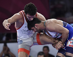 JAKARTA, Aug. 19, 2018  Hassan Yazdanicharati (R)of Iran competes during Men's Wrestling Freestyle 86 kg Final against Domenic Michael Abounader of Lebanon at the 18th Asian Games at Jakarta, Indonesia, Aug. 19, 2018. (Credit Image: © Li He/Xinhua via ZUMA Wire)