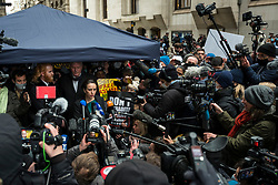 "© Licensed to London News Pictures. 04/01/2021. LONDON, UK. Stella Moris (C), Julian Assange's partner, speaks to the media outside the Old Bailey Central Criminal Court after a judge ruled that Julian Assange, Wikileaks founder, will not be extradited.  Mr Assange has been charged by the United States' Espionage Act of ""disclosing classified documents related to the national defence"".  Photo credit: Stephen Chung/LNP"