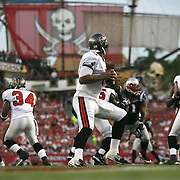 Tampa quarterback Josh Freeman (5) attempts a pass during an NFL football game between the New England Patriots and the Tampa Bay Buccaneers at Raymond James Stadium on Thursday, August 18, 2011 in Tampa, Florida.   (Photo/Alex Menendez)