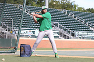 16 May 2016: Notre Dame's Brad Bass hits ground balls to the infielders before the game. The University of North Carolina Tar Heels hosted the University of Notre Dame Fighting Irish in an NCAA Division I Men's baseball game at Boshamer Stadium in Chapel Hill, North Carolina.