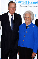 Former President George Bush and his wife Barbara pose for pictures prior to be honored at the 29th annual T.J. Martell Foundation Awards Gala held at the New York Hilton on Thursday May 27, 2004. (Pictured : George Bush, Barbara Bush). Photo by nicolas Khayat/ABACA.