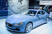 New York, NY - 1 April 2015. A Maserati Ghibli Quatroporte in a special limited edition with styling by Ermenegildo Zegna, including this unique blue paint, which changes hues as the angle of light on it changes.