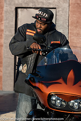 Othello Dailey at Black Bike Week, which is what the festivities along Dr Mary McLeod Bethune Blvd during Daytona Bike Week has come to be called . Daytona Beach, FL. USA. Thursday March 16, 2017. Photography ©2017 Michael Lichter.